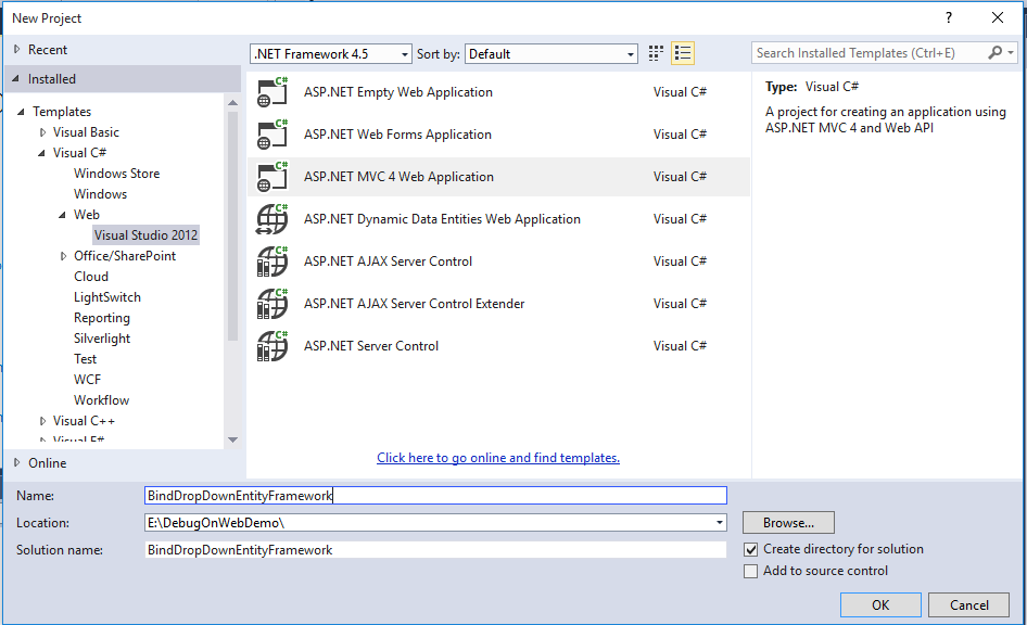 How to Bind Dropdownlist using Entity Framework in ASP NET MVC