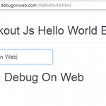 Hello World example using Knockout js
