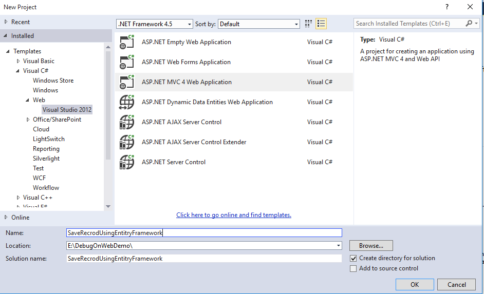 Save Record using Entity Framework