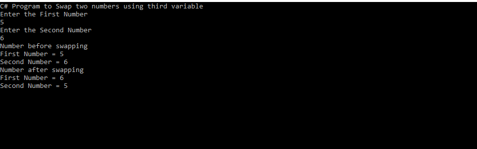 Swap two numbers using third variable